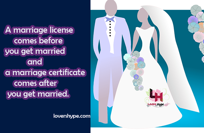 marriage license comes before the marriage certificate