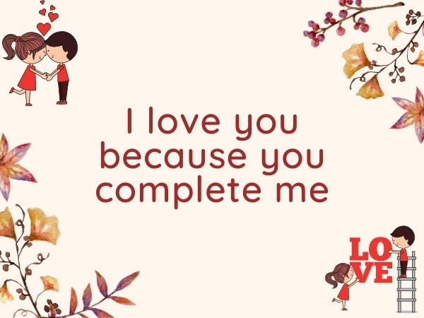 I love you because you complete me