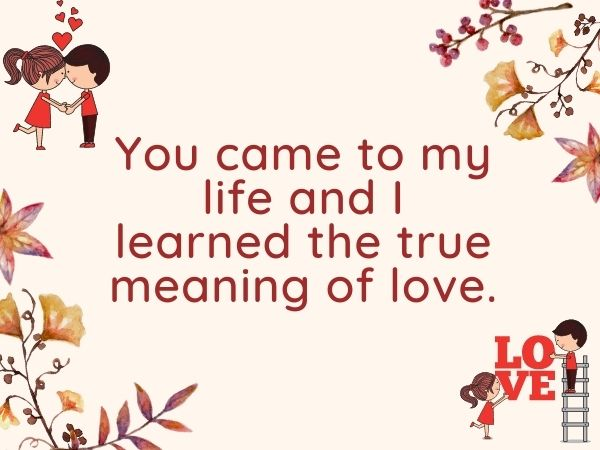 You came to my life and I learned the true meaning of love